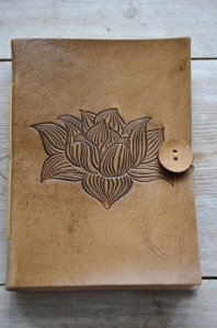 Note Book, Lotusblomma, läder